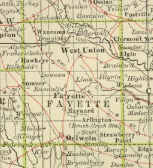 Fayette Iowa Map.1897 Century Atlas Of The State Of Iowa