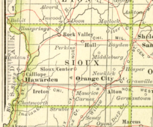 Sioux County Iowa Map.1897 Century Atlas Of The State Of Iowa