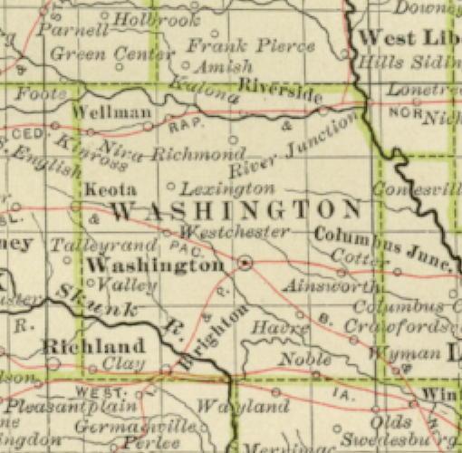 Washington County Iowa Map.1897 Century Atlas Of The State Of Iowa